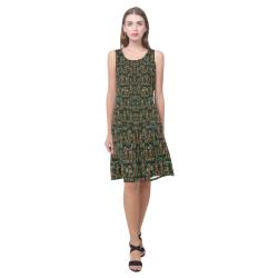 Love my leggings and top ornate pop art`s collage Sleeveless Splicing Shift Dress(Model D17)