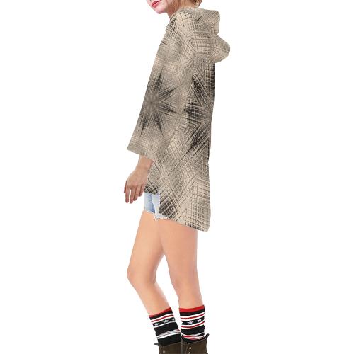 Fragile Step Hem Tunic Hoodie for Women (Model H25)