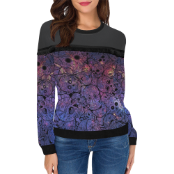 Cosmic Sugar Skulls Women's Fringe Detail Sweatshirt (Model H28)
