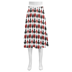 Las Vegas Black and Red Casino Poker Card Shapes on White Mnemosyne Women's Crepe Skirt (Model D16)