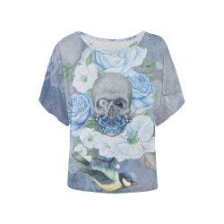 Gothic Skull With Butterfly Women's Batwing-Sleeved Blouse T shirt (Model T44)
