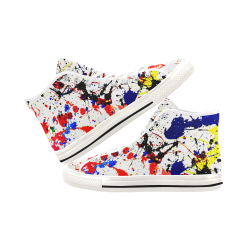 Blue & Red Paint Splatter - White Vancouver H Men's Canvas Shoes (1013-1)