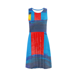 Cool Colorblock Abstract Art Sleeveless Ice Skater Dress (D19)
