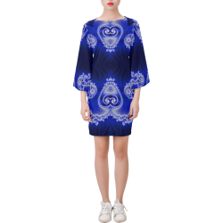 Blue and White Hearts  Lace Fractal Abstract Bell Sleeve Dress (Model D52)