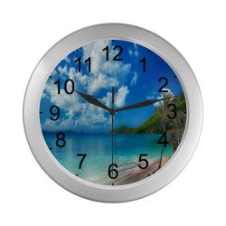 Beach Escape Silver Color Wall Clock