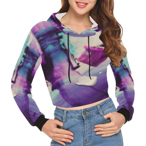 violet strokes All Over Print Crop Hoodie for Women (Model H22)