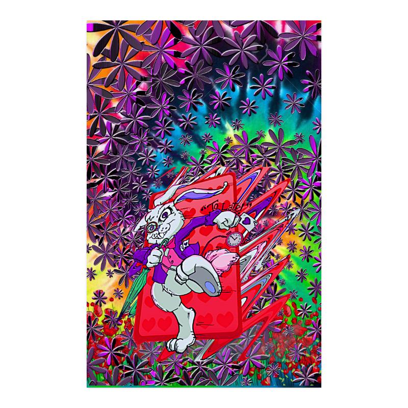 """White Rabbit Tie Dye Poster Poster 23""""x36"""""""