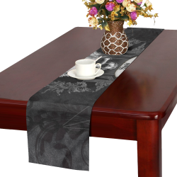 Skull with crow in black and white Table Runner 16x72 inch