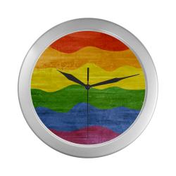 Gay Pride - Rainbow Flag Waves Stripes 3 Silver Color Wall Clock