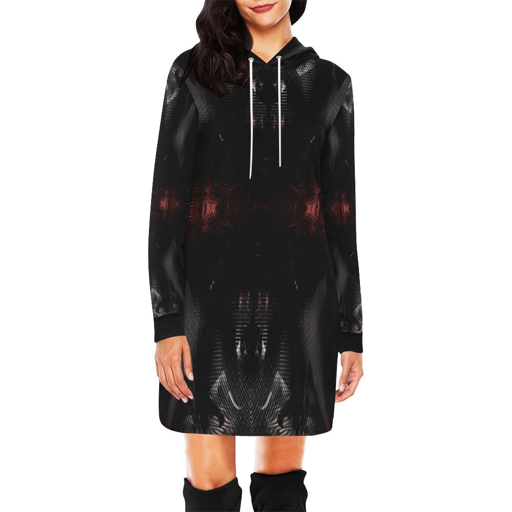 5000DUBLE 47 C 3 All Over Print Hoodie Mini Dress (Model H27)