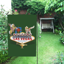 Las Vegas Welcome Sign on Green Garden Flag 12''x18''(Without Flagpole)