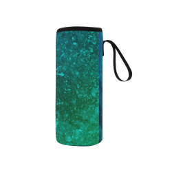 Blue and Green Abstract Neoprene Water Bottle Pouch/Small