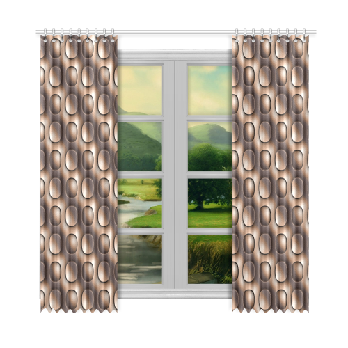 """Brown glossy toned buttons Window Curtain 52""""x108""""(Two Piece)"""