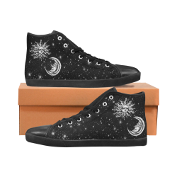 Mystic  Moon and Sun Men's High Top Canvas Shoes (Model 002)