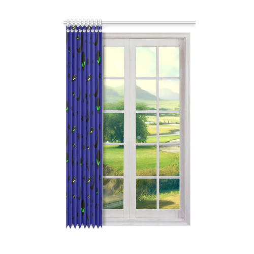 "Alien Flying Saucers Stars Pattern Window Curtain 50"" x 84""(One Piece)"