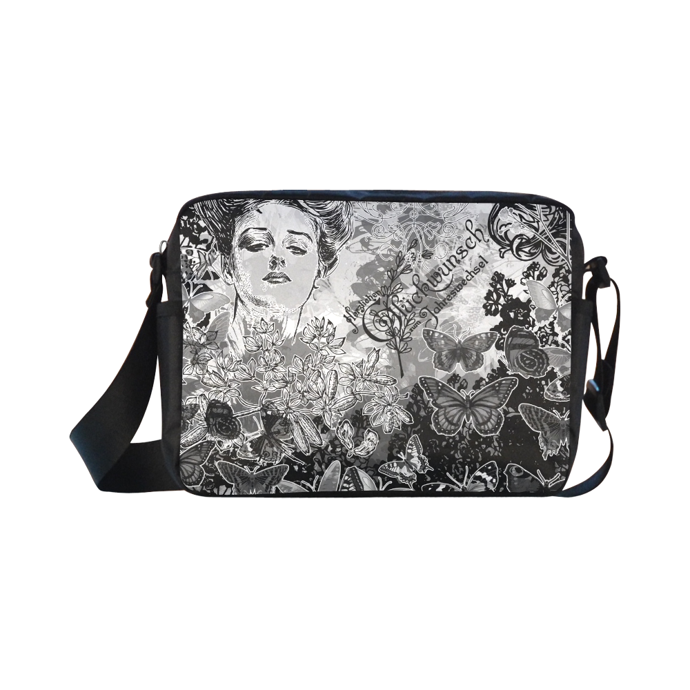 Lady and butterflies Classic Cross-body Nylon Bags (Model 1632)