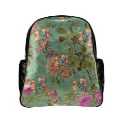 Hooping in The Rose Garden Multi-Pockets Backpack (Model 1636)