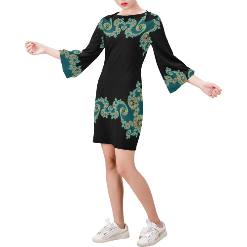Aqua and Black  Hearts Lace Fractal Abstract Bell Sleeve Dress (Model D52)