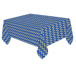 "Chevron Jaune/Bleu Cotton Linen Tablecloth 60""x 84"""