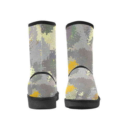 Yellow and Gray Tapestry Custom High Top Unisex Snow Boots (Model 047)