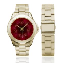 Love and Romance Glittering Ruby and Diamond Heart Custom Gilt Watch(Model 101)