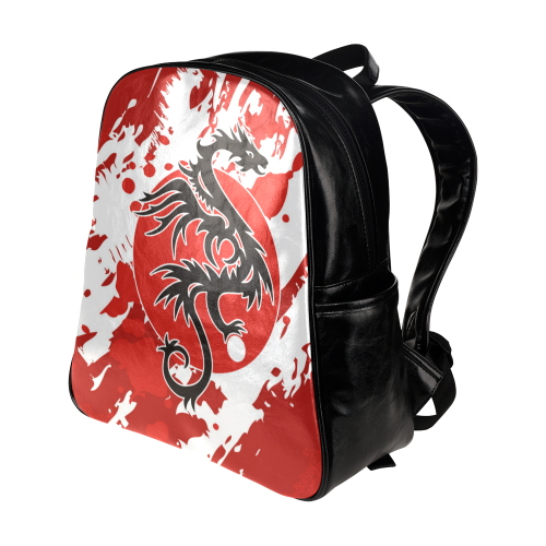 Sun Dragon With Pearl - Brush Strokes 1 Multi-Pockets Backpack (Model 1636)