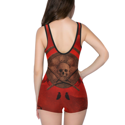 Skulls on red vintage background Classic One Piece Swimwear (Model S03)