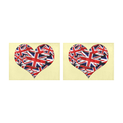 Union Jack British UK Flag Heart Yellow Placemat 14'' x 19'' (Two Pieces)
