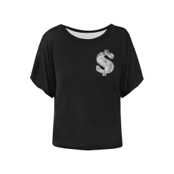 Hundred Dollar Bills - Money Sign Black Women's Batwing-Sleeved Blouse T shirt (Model T44)