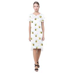 Cute Bee Pattern Short Sleeves Casual Dress(Model D14)