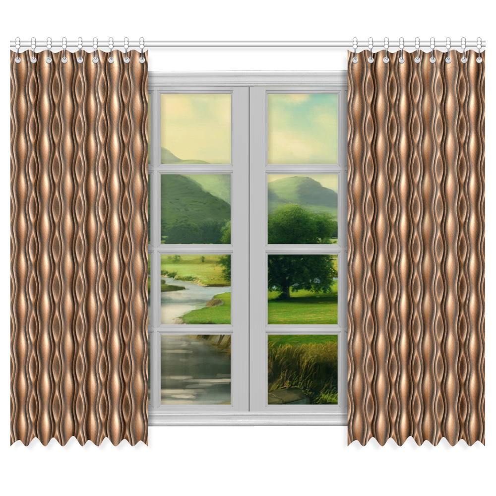 """Brown leather abstract wave Window Curtain 50""""x84""""(Two Piece)"""
