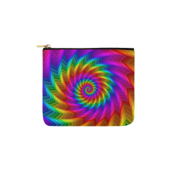 Psychedelic Rainbow Spiral Pouch Carry-All Pouch 6''x5''