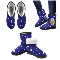 Funny Christmas Reindeer Blue Custom High Top Unisex Snow Boots (Model 047)