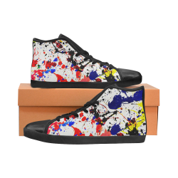 Blue & Red Paint Splatter - Black High Top Canvas Women's Shoes/Large Size (Model 002)