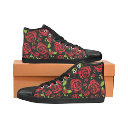 Red Roses on Black High Top Canvas Women's Shoes/Large Size (Model 002)