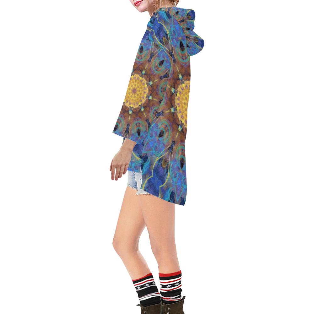 Energy mandala Step Hem Tunic Hoodie for Women (Model H25)