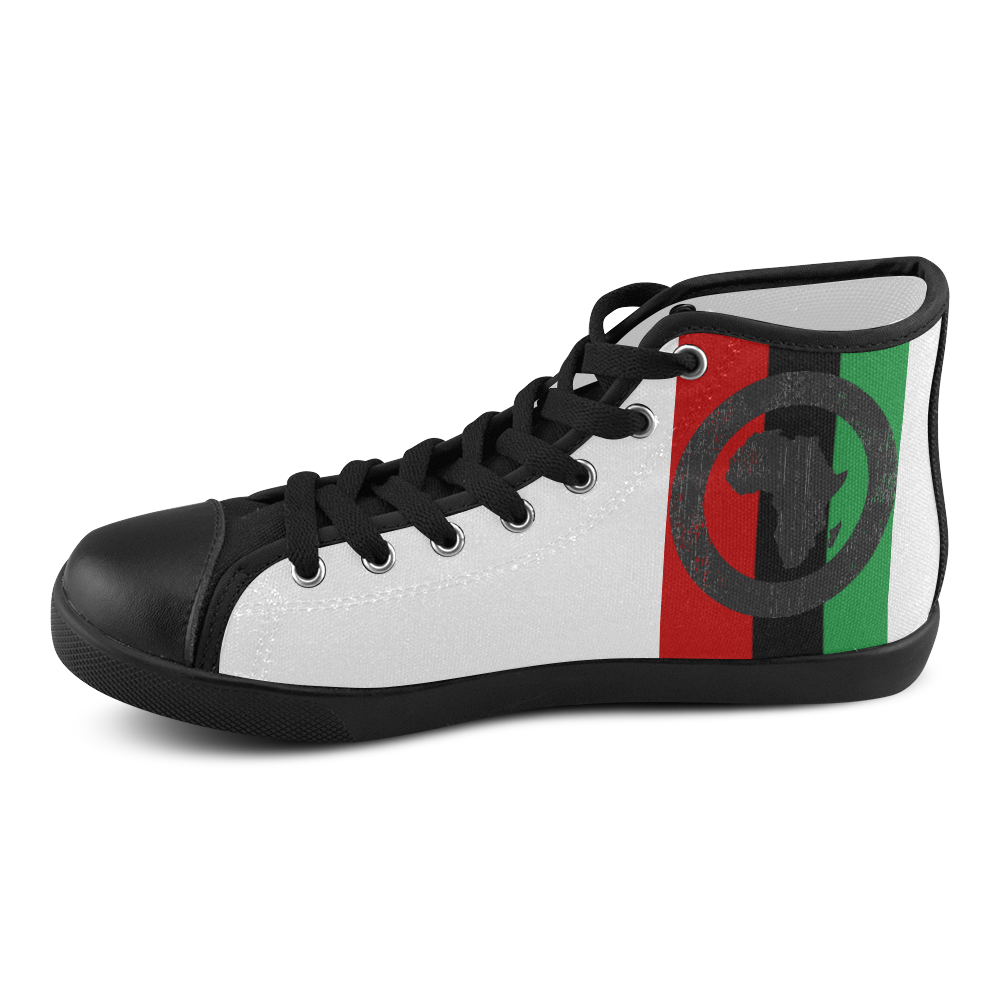 Africa Bullseye/RBG Striped on White Upper/Black Sole Mens Hi Tops Men's High Top Canvas Shoes (Model 002)