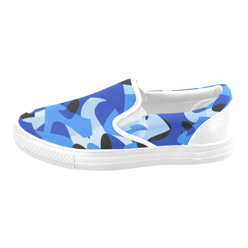 Camouflage Abstract Blue and Black Men's Slip-on Canvas Shoes (Model 019)