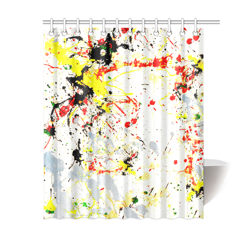 "Black, Red, Yellow Paint Splatter Shower Curtain 60""x72"""