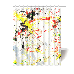 "Black, Red, Yellow Paint Splatter Shower Curtain 60""x72"""