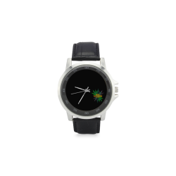 420 Unisex Stainless Steel Leather Strap Watch(Model 202)