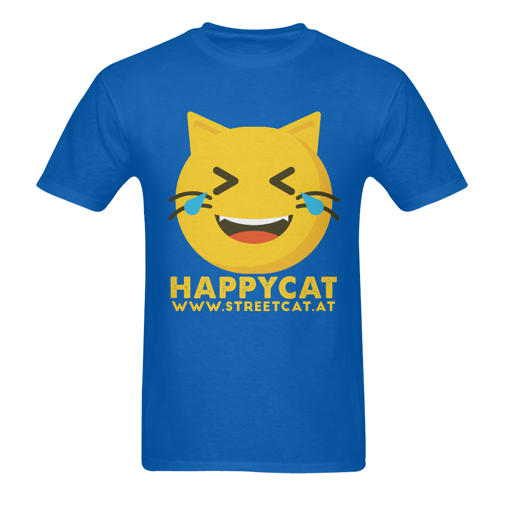 Happycat_men_blue Men's T-Shirt in USA Size (Two Sides Printing)