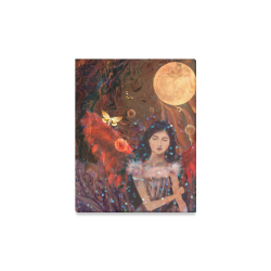 """carnival art full moon red wings beautiful girl with butterfly by agnes laczo Canvas Print 11""""x14"""""""