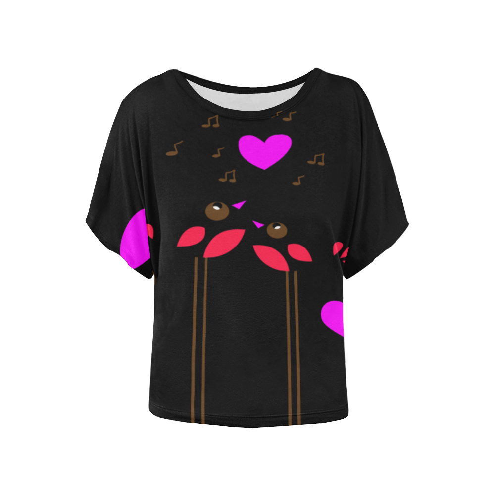 LOve birds Women's Batwing-Sleeved Blouse T shirt (Model T44)