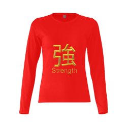 v-Golden Asian Symbol for Strength Sunny Women's T-shirt (long-sleeve) (Model T07)