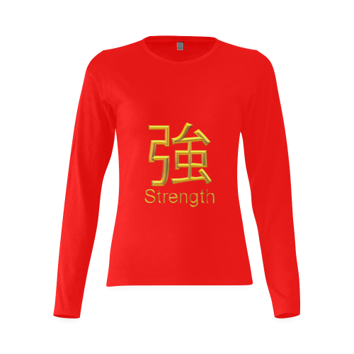 v-Golden Asian Symbol for Strength Sunny Women's T-shirt (long-sleeve) (Model T07)