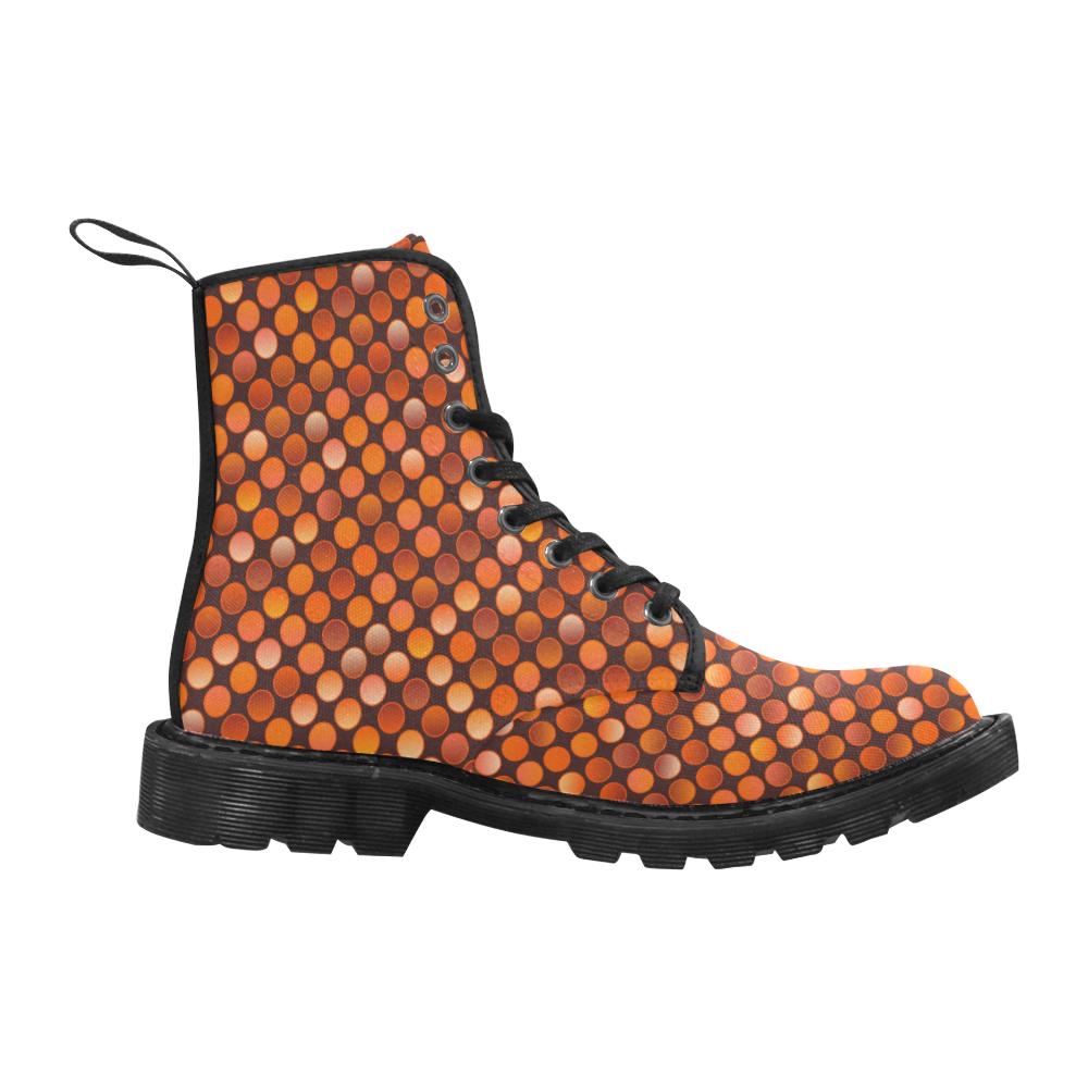 Disco orange dots Women's Martin Boots Martin Boots for Men (Black) (Model 1203H)