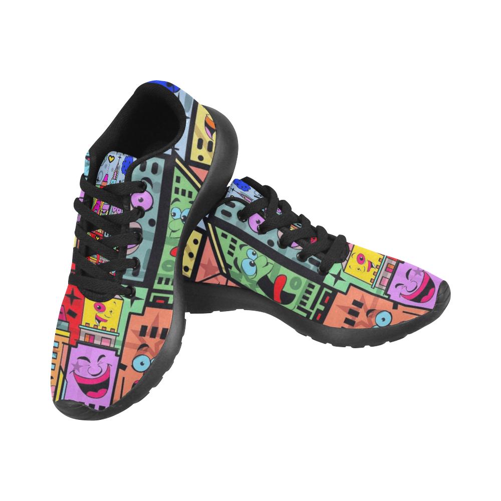 Windy Happy City Pop Art by Nico Bielow Men's Running Shoes (Model 020)