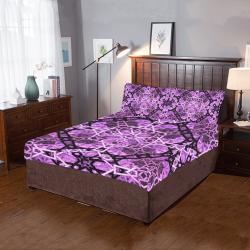 Pink/Black Fractal Pattern 3-Piece Bedding Set