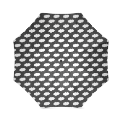 Clouds and Polka Dots on Black Foldable Umbrella (Model U01)